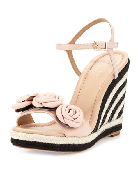 pale pink wedge sandals kate spade new york rosette leather wedge sandal