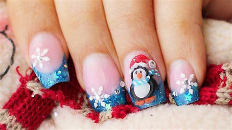 imagenes uñas en 3d como hacer u 241 as pinguino en 3d relieve navidad y glow in