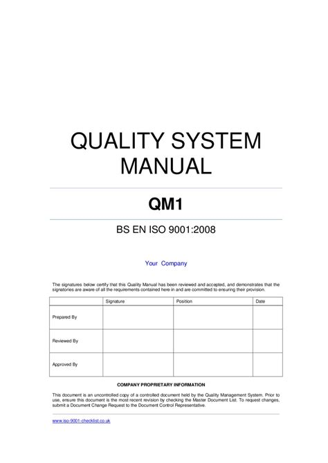 quality manual template quality manual template exle by iso 9001 checklist issuu