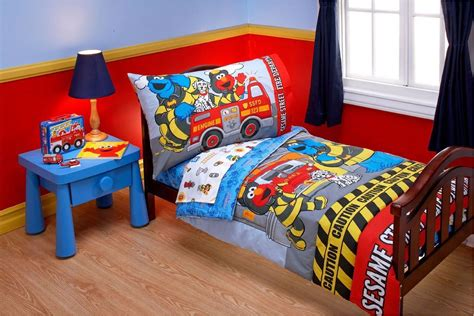 elmo toddler bed set sesame street toddler bedding set 4pc elmo fire