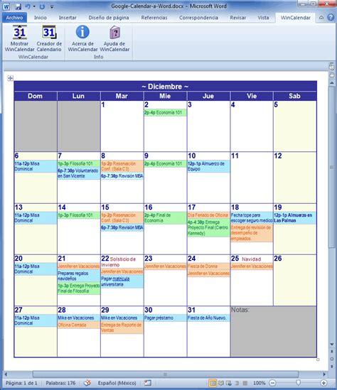 Crear Calendario Word Importar Calendar A Excel Y Word