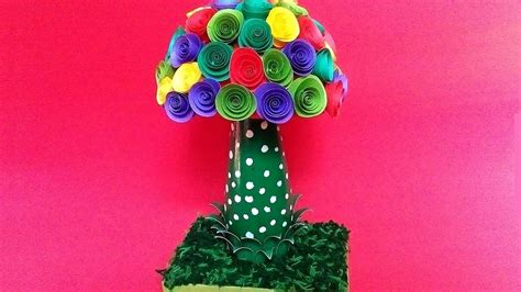 Color Paper Crafts Ideas - color paper showpiece diy paper flower craft ideas quill