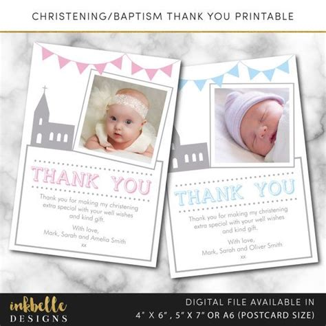 printable thank you card for baptism 25 best ideas about christening thank you cards on