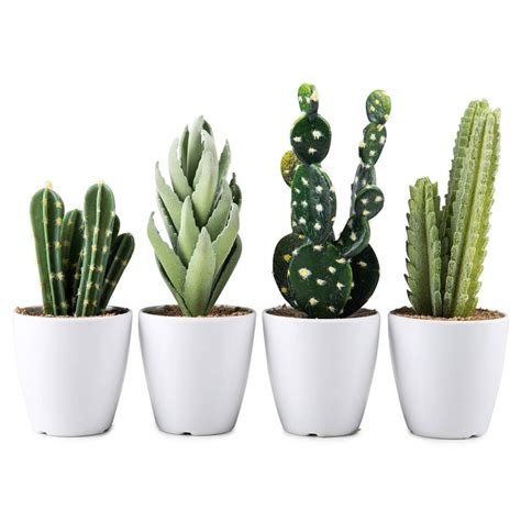 white pot artificial cactus succulents in white pots 23cm set of