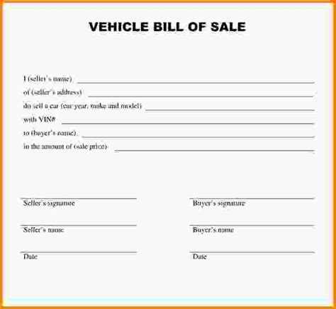 printable bill of sale template free bill of sale template free vehicle bill of sale