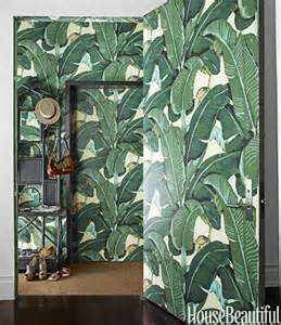 Botanical Curtains 10 Of My Favorite Interiors With Palm Leaf Wallpaper