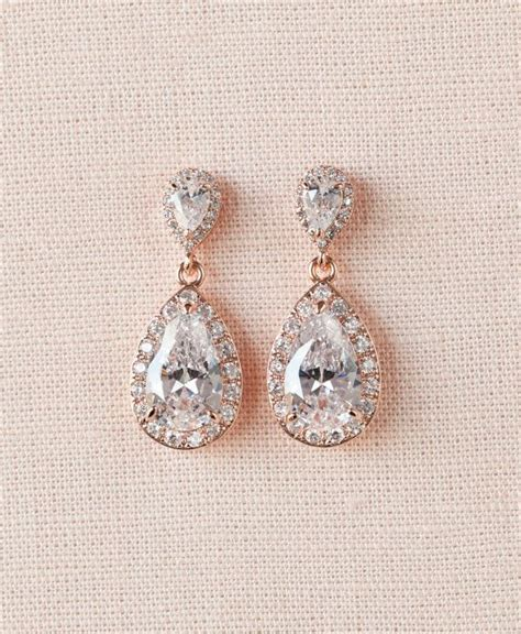 braut ohrringe tropfen rose gold bridal earrings crystal wedding earrings halo