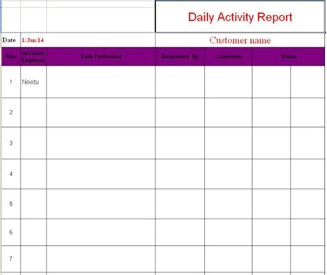 Daily Activity Report Format in Excel Free Download