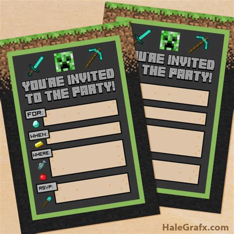 minecraft invitation template free free printable minecraft birthday invitation