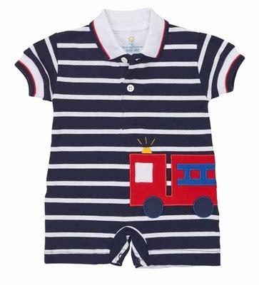 Romper Truck Stripe florence eiseman infant boys navy blue white striped