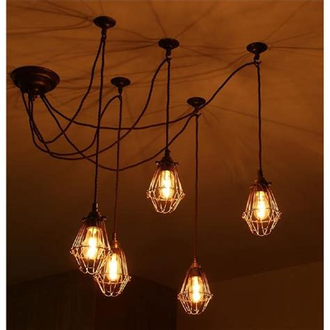style lights pendant cluster ceiling light with 5 industrial style cage