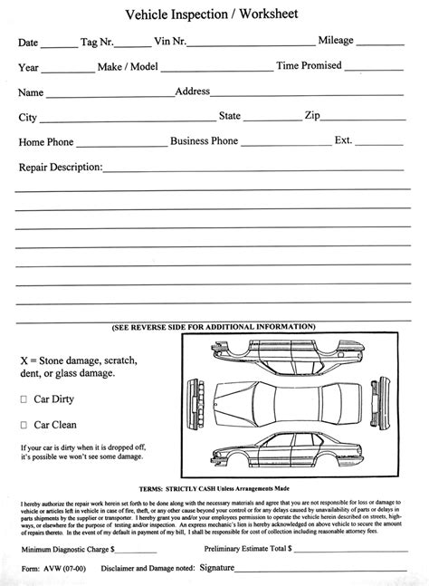 Vehicle Inspection Worksheet Vehicle Inspection Template