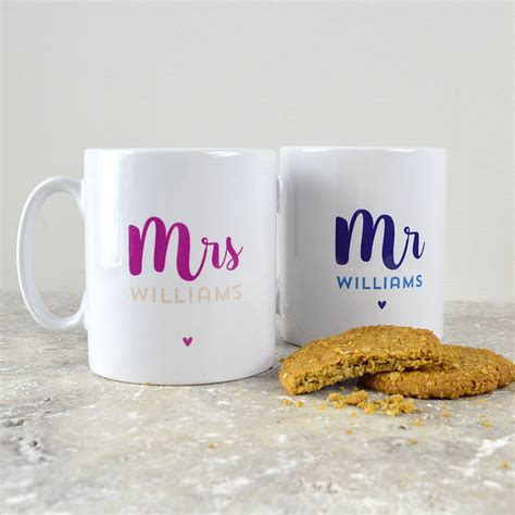 personalised mr and mrs mugs by pink and turquoise