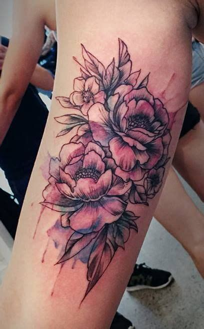 watercolor peony tattoo chronic ink toronto watercolour peonies