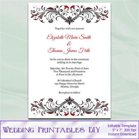red and black wedding invitation template diy birthday