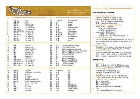 list of all korean vocabulary pdfs key to korean