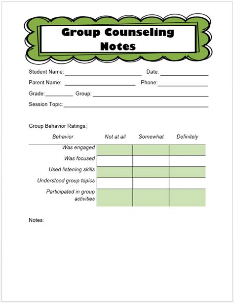 Keeping Track Of Counseling Notes The Middle School Counselor School Counseling Notes Template