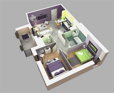 1 Bedroom House Plans 3d Just The Two Of Us Gt Apartment Floor Plans In 3d