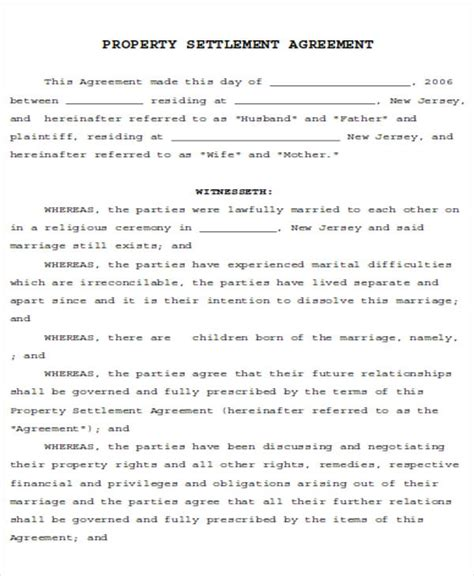 property settlement agreement template divorce agreement sle 7 exles in word pdf