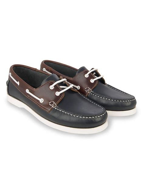 boat shoes men s navy and brown two tone leather boat shoe hawes