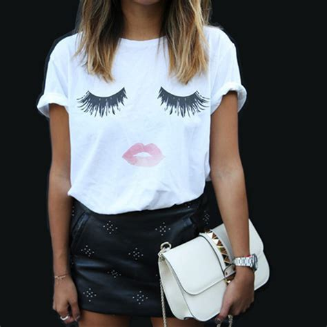 White Muse Print Top Blouse Tshirt print top tees eyelash t shirt 2015 harajuku white femme t shirt plain plus size summer