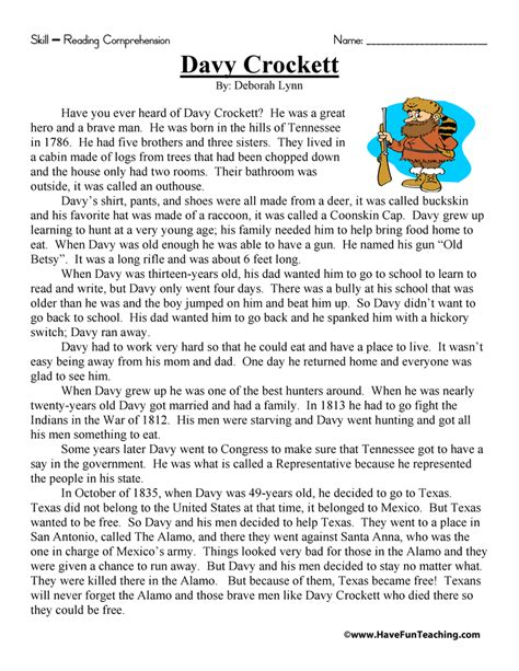 Reading Comprehension Worksheets 3rd Grade by Davy Crockett Reading Comprehension Worksheet