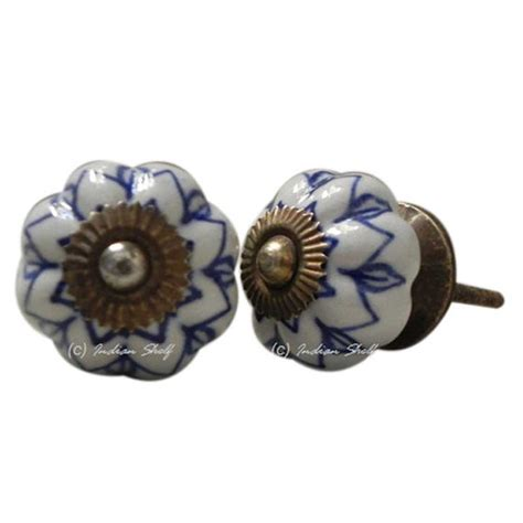 set of 6 blue white flat door knobs new beautiful by