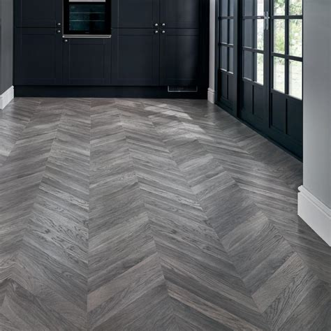 Howdens Professional Grey Chevron Flooring 2.08sq/m