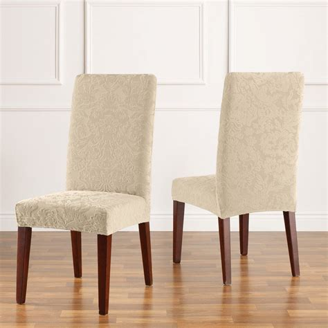 Sure Fit Slipcovers Stretch Jacquard Damask Short Dining Sure Fit Stretch Dining Chair Cover