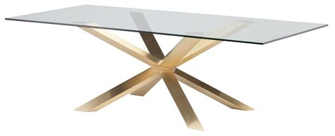gold and glass dining table couture 94 quot brushed gold clear glass dining table hgsx149