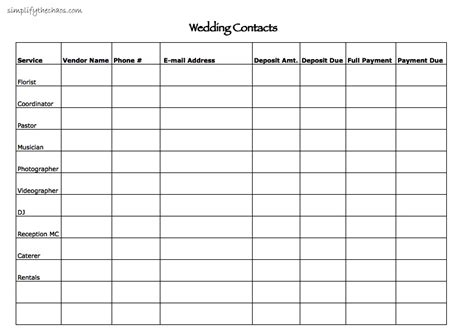 Wedding Ceremony Address by Wedding Contact List Simplify The Chaos