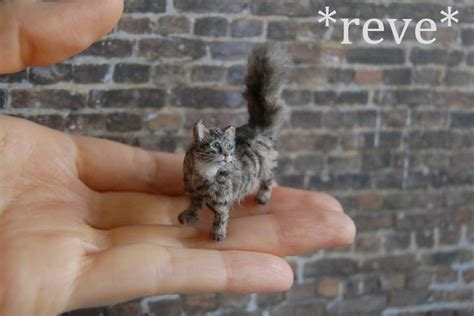 Handmade Miniatures - ooak handmade miniature tabby cat sculpture by