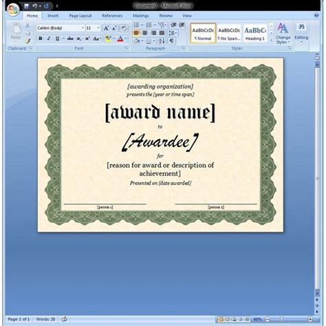 award certificate template microsoft word certificate of appreciation template in word