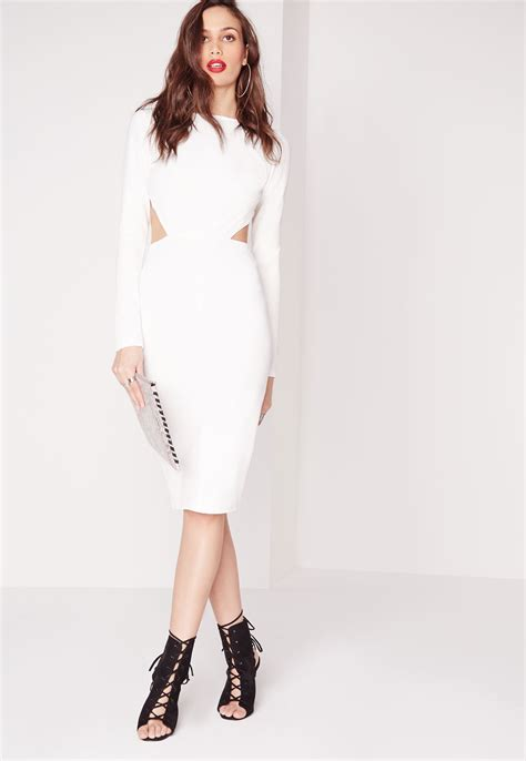 Dress Midi Vb Back missguided textured sleeve open back midi dress white in white lyst