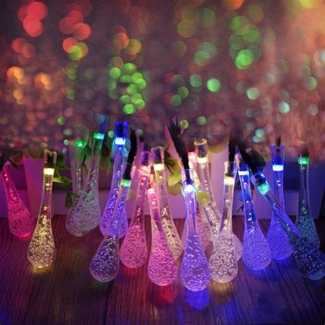 20 Led Solar Powered Water Drop String Lights Led Fairy Solar Powered Light String