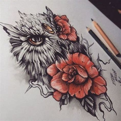 owl with roses tattoo 110 best owl tattoos ideas with images tattoos