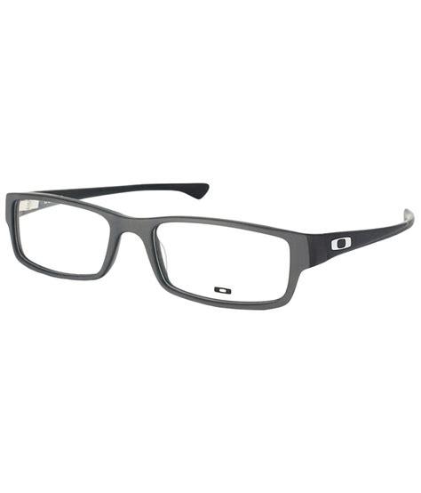 oakley stunning gray unisex rectangular eyeglasses frame