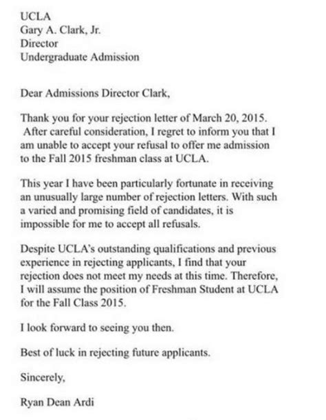 Thank You Letter For Director Thank You For Your Rejection Letter To Ucla Director