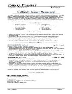 property management resume free sles exles