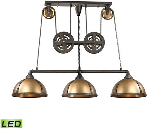 elk 65152 3 led torque contemporary vintage rust vintage brass led kitchen island light elk Led Island Lights