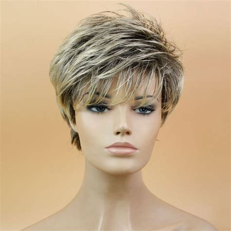 Fake Hair Highlights For Pixie Cuts | blonde pixie cut wig reviews online shopping blonde