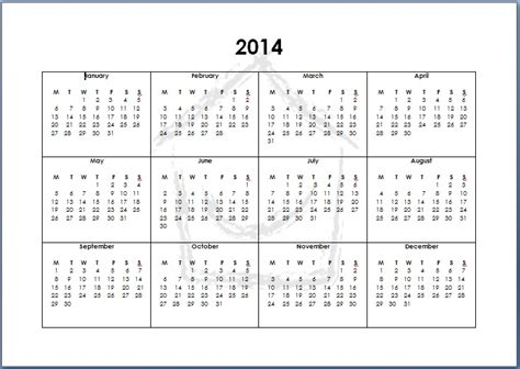 Year Calendar Template 2014 8 best images of 2014 year calendar printable 2014
