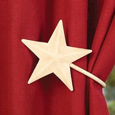 primitive curtain tie backs primitive country 2 antique white barn star curtain tie