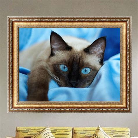 cat painting kit ჱdiy 5d switch kit 174 embroidery embroidery blue