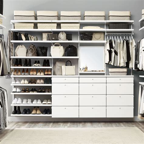 white elfa d 233 cor deluxe closet the container store container store vs california closets closet organizers