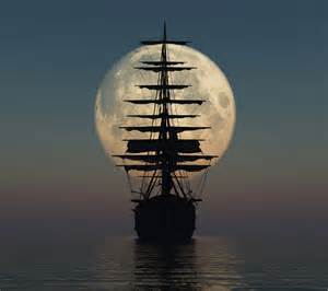 Shower Curtains For Boats - beautiful nature landscapes ship by moonlight eyesofodysseus