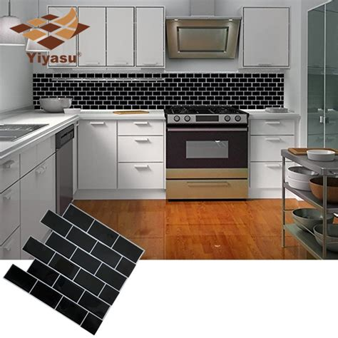 adhesive backsplash tiles for kitchen black subway tile self adhesive peel and stick backsplash brick wall sticker vinyl bathroom
