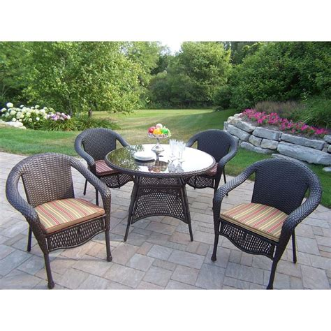 resin wicker patio dining sets oakland living elite resin wicker 5 patio dining set