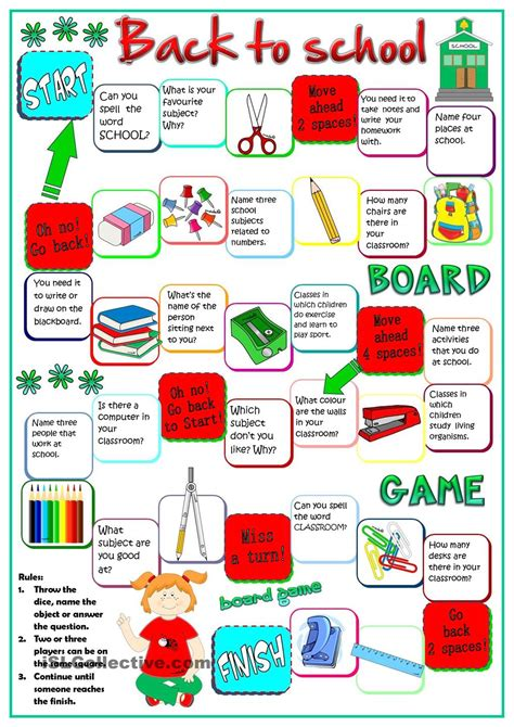 themes for english play back to school board game english pinterest school