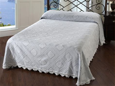 Cotton Bedspreads King White Seashell Design W Scallope Finges Matelasse